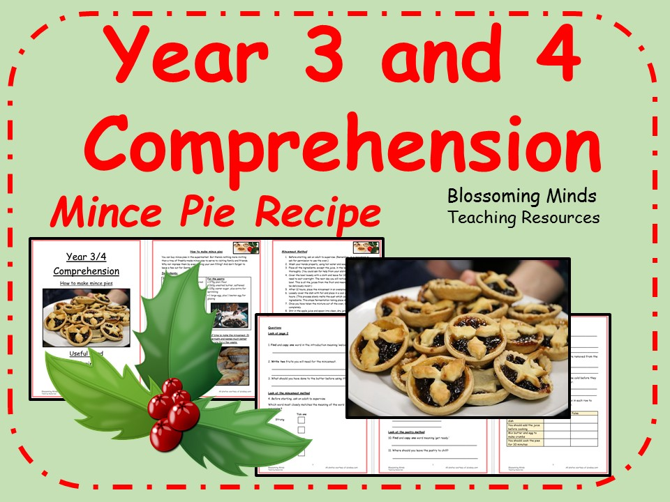Year 3 and 4 comprehension - Mince Pie Recipe
