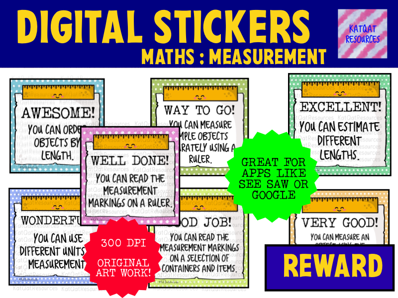Digital Stickers for Seesaw or Google Classroom - Maths - Measurement
