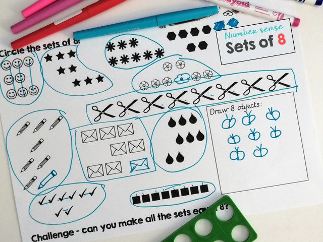 Make sets of 8 for Number sense and Maths mastery