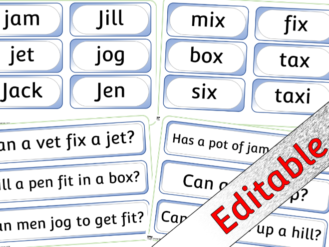 Phase 3 Phonics/Letters and Sounds - Word/Question Pack 1 (j,v,w,x) - Editable