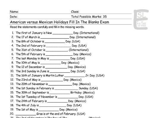 American versus Mexican Holidays Fill In The Blanks Exam
