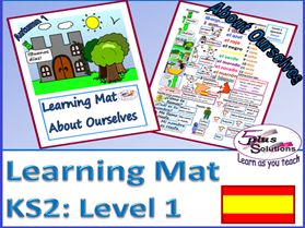 PRIMARY SPANISH VOCABULARY LEARNING MAT (KS2/3):Greetings, name, age, nos 1-12, colours, adjectives