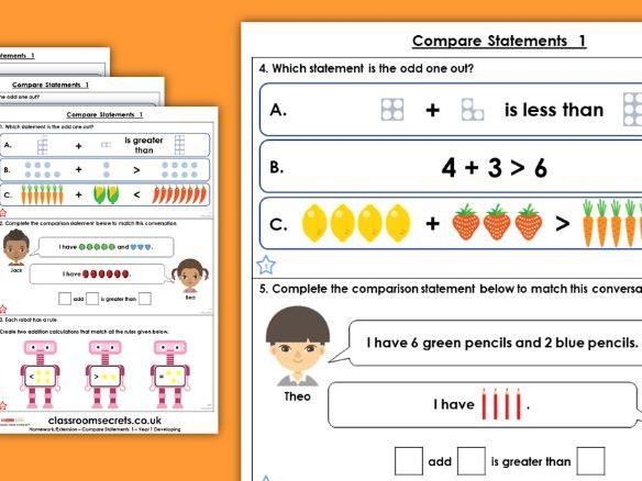 Year 1 Compare Statements 1 Autumn Block 2 Maths Homework Extension
