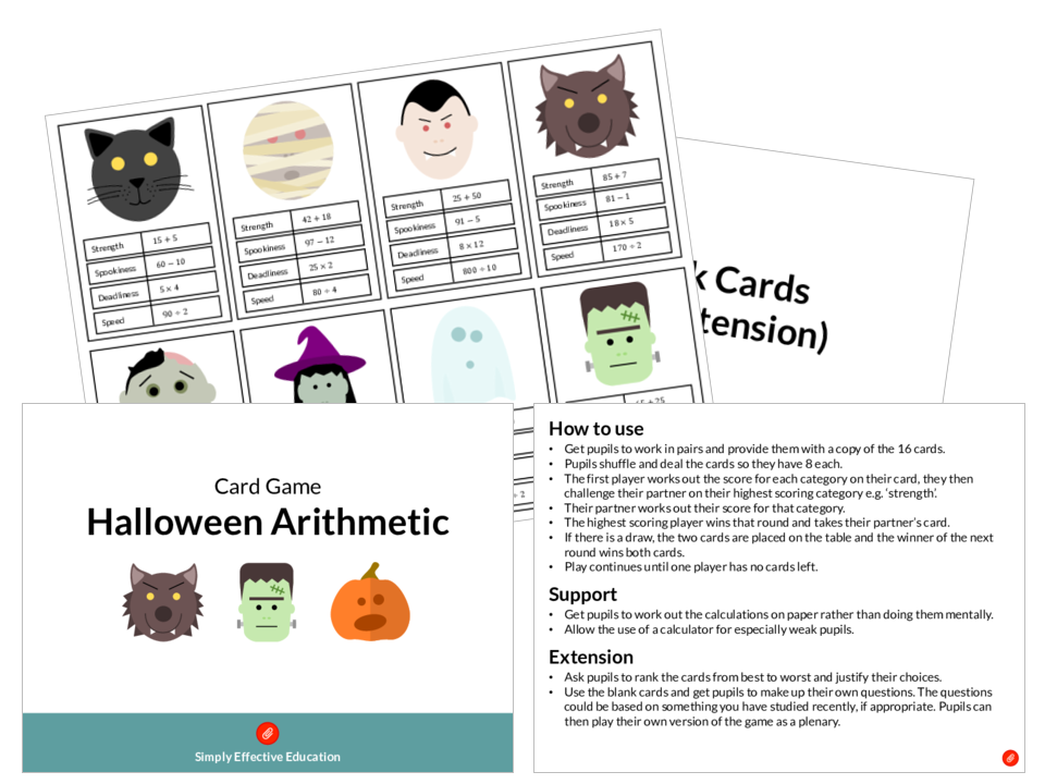 Halloween Arithmetic Card Game
