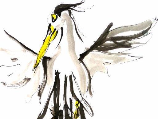 Suddenly heron Jessy found himself on the head of Noiseman - illustration by artist Wendy Tjalma