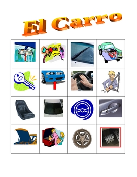Car parts in Spanish Bingo game