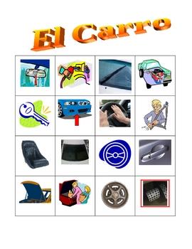 Car parts in Spanish Bingo game