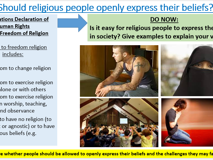 New AQA Specification A: Human Rights: Should religious believers openly express their faith?