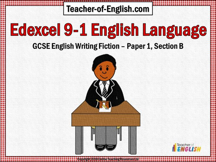 Edexcel 9-1 GCSE English Paper 1 Section B (PowerPoint and worksheets)