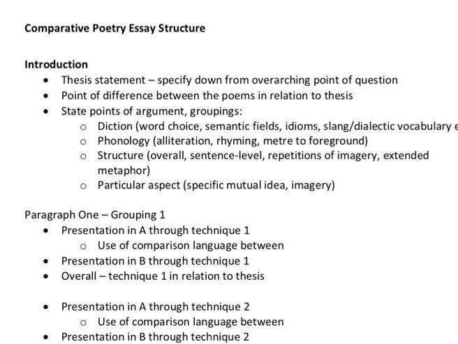 Poetry Comparison Essay Structure