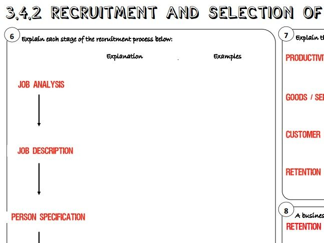AQA GCSE Business (9-1) 3.4.2 Recruitment and Selection of Employees Learning Mat / Revision