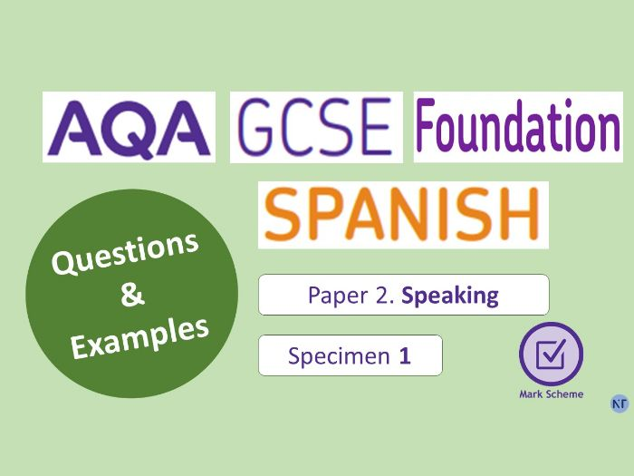 GCSE Foundation Paper 2: Speaking (Specimen 1)