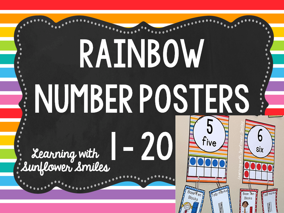 Rainbow Number Posters 1 - 20