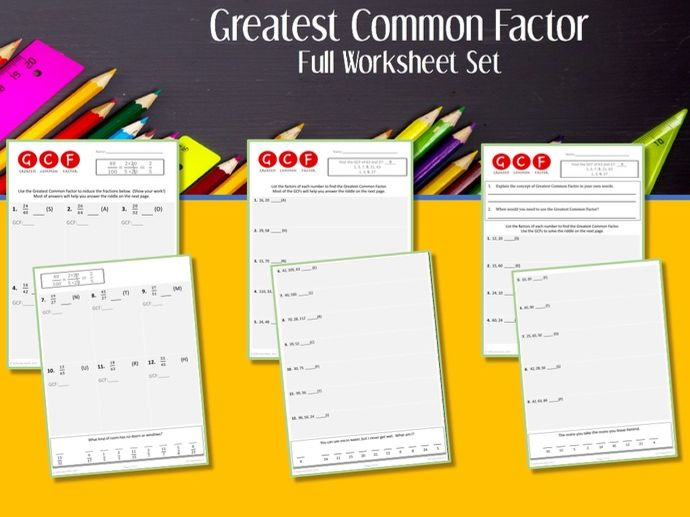 Greatest Common Factor --Worksheet Set