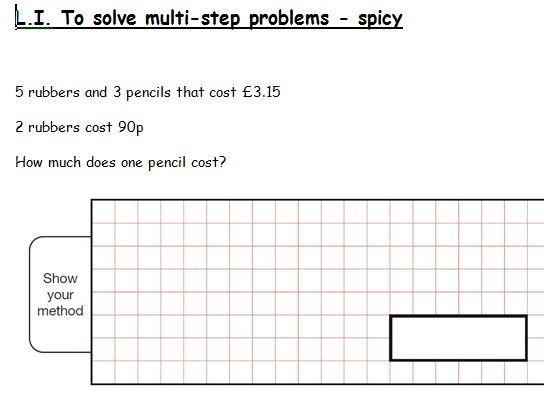 Year 6 multistep problems involving simultaneous problems