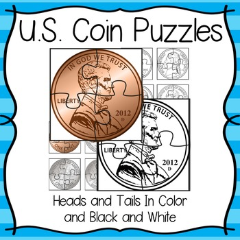 Printable US Coin Puzzles in B&W & Color ~ For Coin Recognition Practice