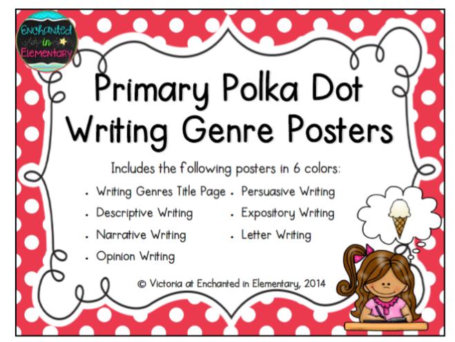 Primary Polka Dot Writing Genre Posters By Enchantedinelementary