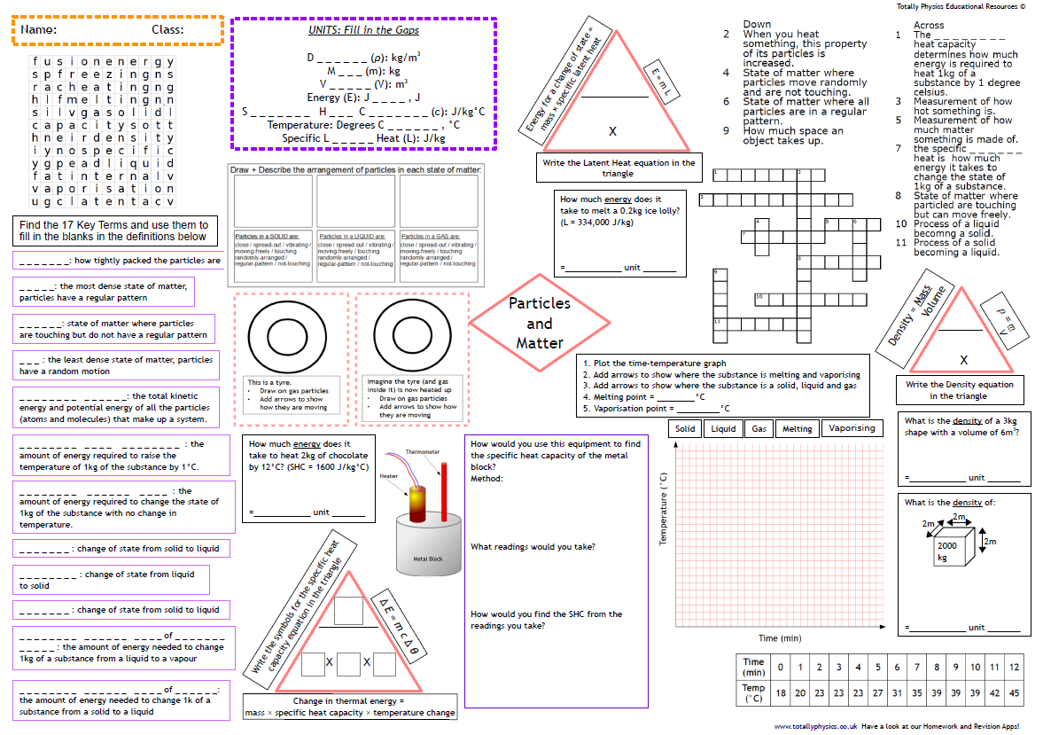 AQA Particles and Matter Revision A3 Worksheet (1-9 grade 2018 spec)