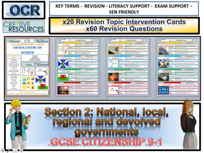 Citizenship GCSE 9-1 National, local, regional and devolved governments Revision Topic Cards OCR