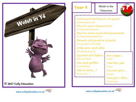 Incidental Welsh Booklet for the Y4 Classroom