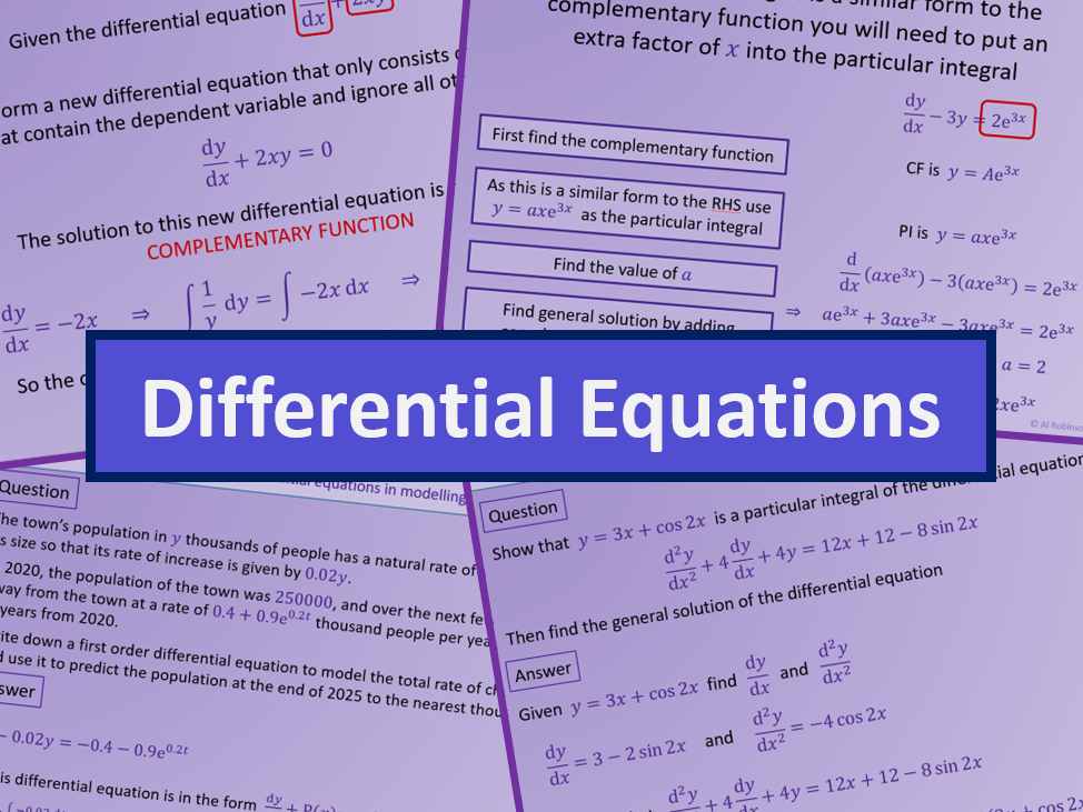 Differential Equations First and Second Order - Further maths A level A2