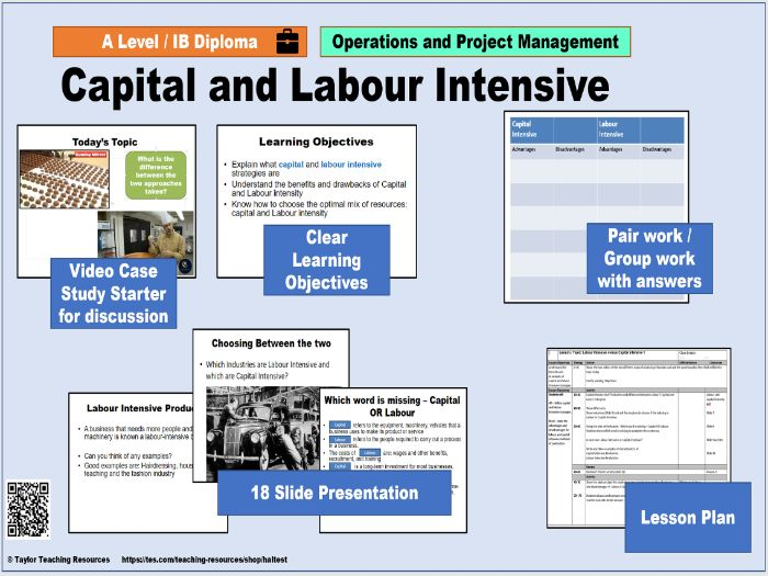 Labour and Capital Intensive Production -Full Lesson- AS / A2 Level