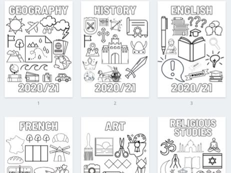 Subject Title Colouring Pages for Exercise Books