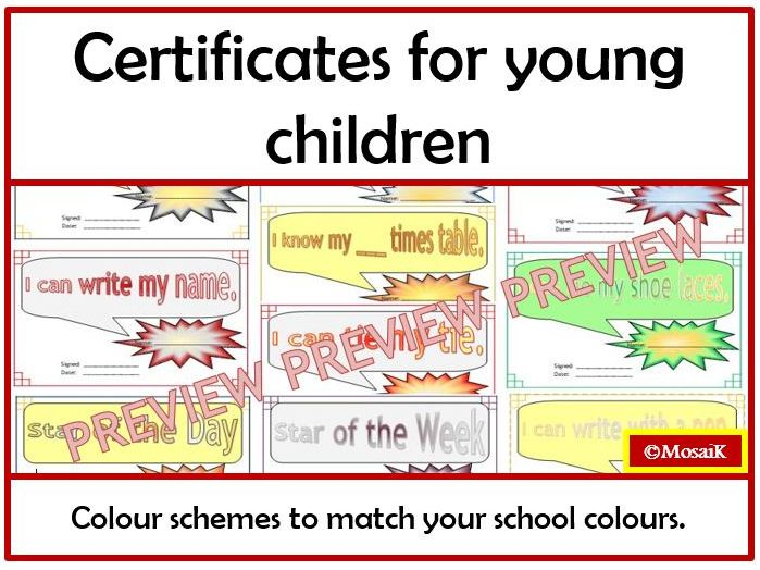 Basic Skills Certificates for Young Children: 10 colour schemes