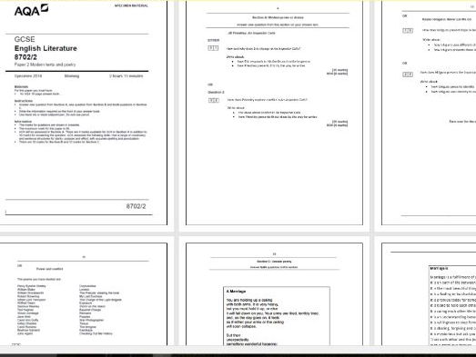 GCSE Literature Paper 2 (Mock) Ready to print