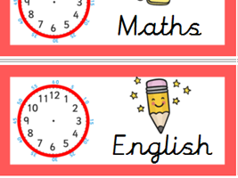 Excellent daily visual timetable cards - with editable clocks! (primary school display)