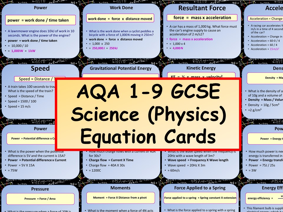 New AQA 1-9 GCSE Science (Physics) Equation Cards