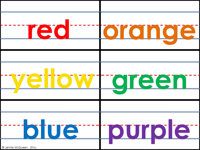 Sentence Strip Color Word Cards (With BONUS Color Flashcards!)