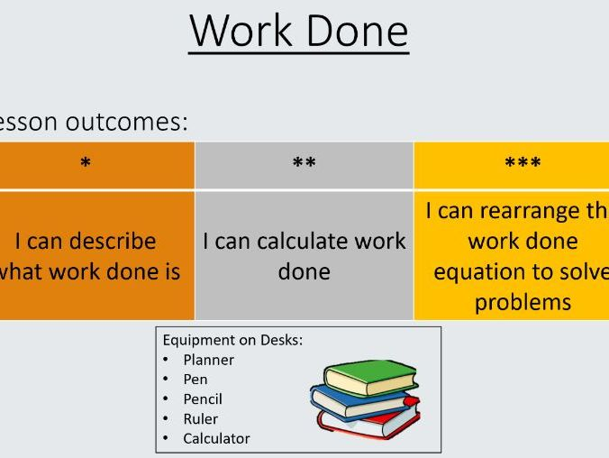 Work Done lesson pack  GCSE
