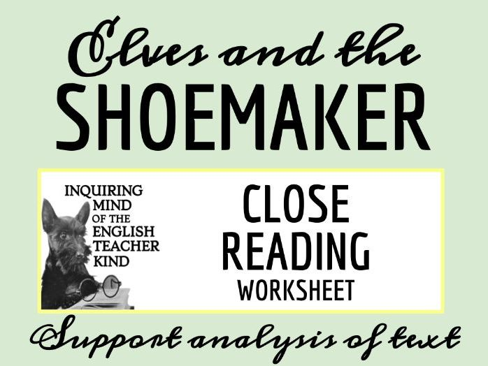 """Grimms' Fairy Tale """"Elves and the Shoemaker"""" Close Reading"""