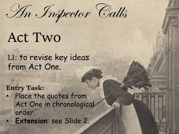 'An Inspector Calls' Act Two Unit of Work