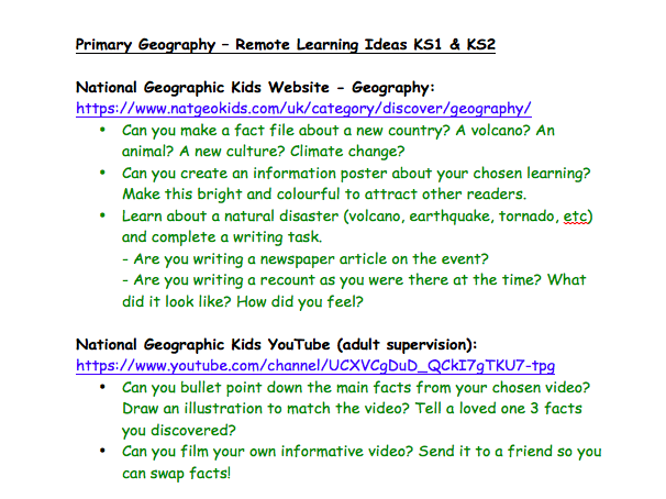 Primary Geography - Remote Learning Activities