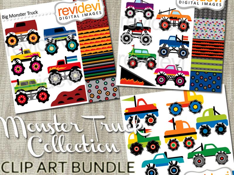 Monster Truck collection clip art bundle