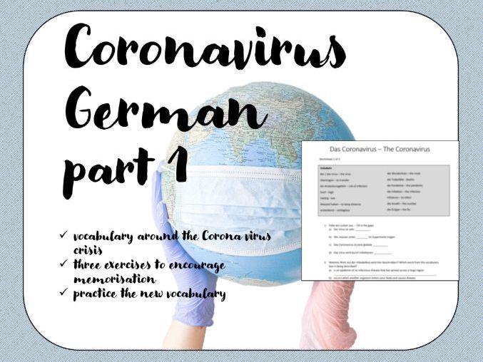 Coronavirus Worksheet German Deutsch Part 1