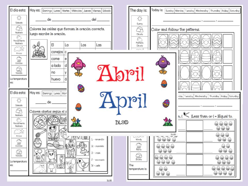 Bilingual Morning Work / Calendar for the month of April