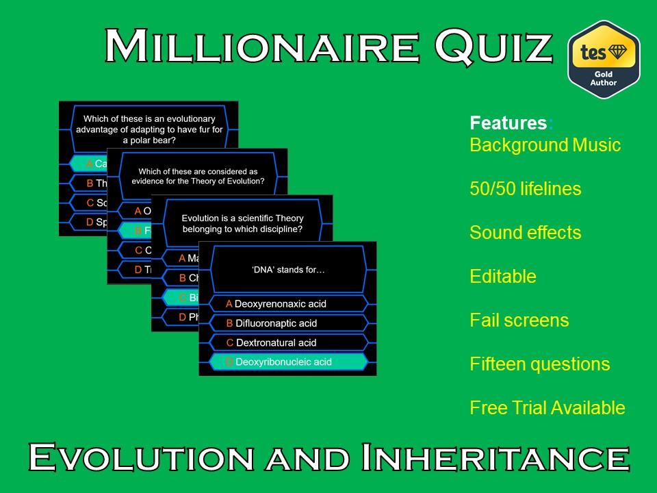 Millionaire Quiz! (Evolution, Inheritance and Adaptation Edition)