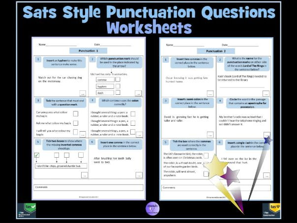 key stage 2 english sats style punctuation questions worksheets by krazikas teaching resources. Black Bedroom Furniture Sets. Home Design Ideas