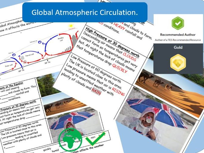 Global Atmospheric Circulation:  AQA GCSE 9-1 Worksheet.