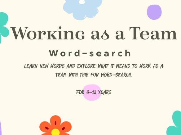 'Working as a Team' Word-search to encouraging & identify team skills. KS2 About me, PHSE