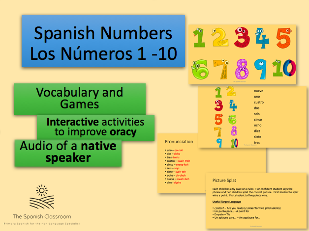 Numbers 1 - 10 in Spanish - Vocabulary and Games