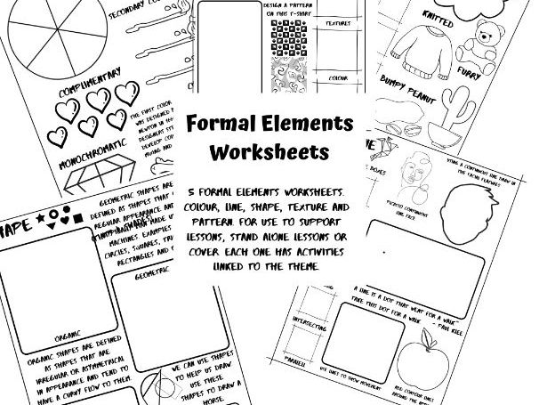 5 Formal elements worksheets. Colour, Line, Shape, Texture and Pattern