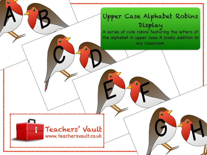Upper Case Alphabet Robins Display