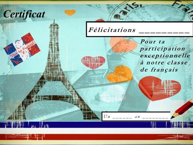 General French certificate 6/ Certificat de francais 6
