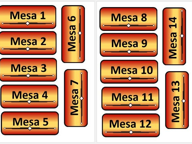 Table Number Labels with Spanish Flag