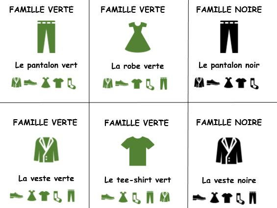 French revision colours and clothes