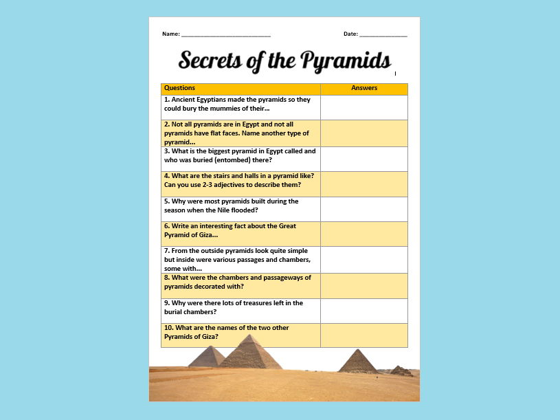 The Pyramids of Egypt Question Sheet